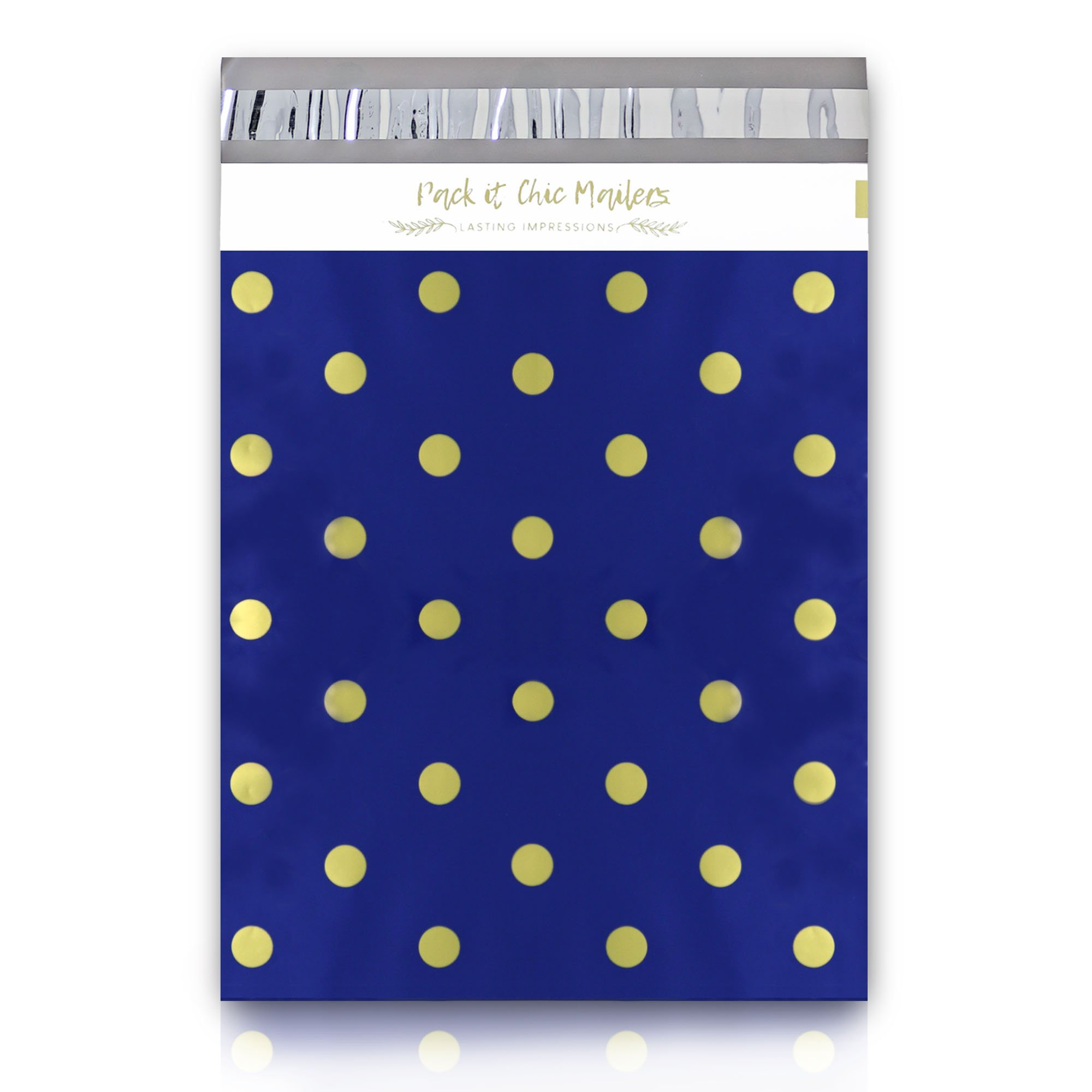 "[ 100-10"" X 13"" ] Navy Polka Dot - Thank You Design Custom Poly Mailer Envelope Shipping Bags, Tear Proof & Powerful Self Seal Adhesive Postal Bags (Other Designs Available) - Pack It Chic by Pack It Chic (Image #3)"