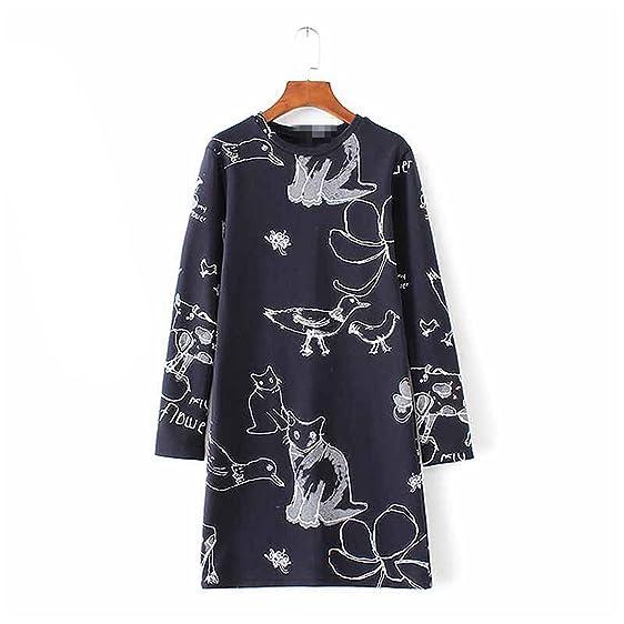 FDFAF Sexy Women bird cat cartoon print cute dress o neck long sleeve autumn sprint thick