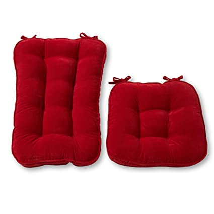 Beau Greendale Home Fashions Jumbo Rocking Chair Cushion Set Hyatt Fabric,  Scarlet
