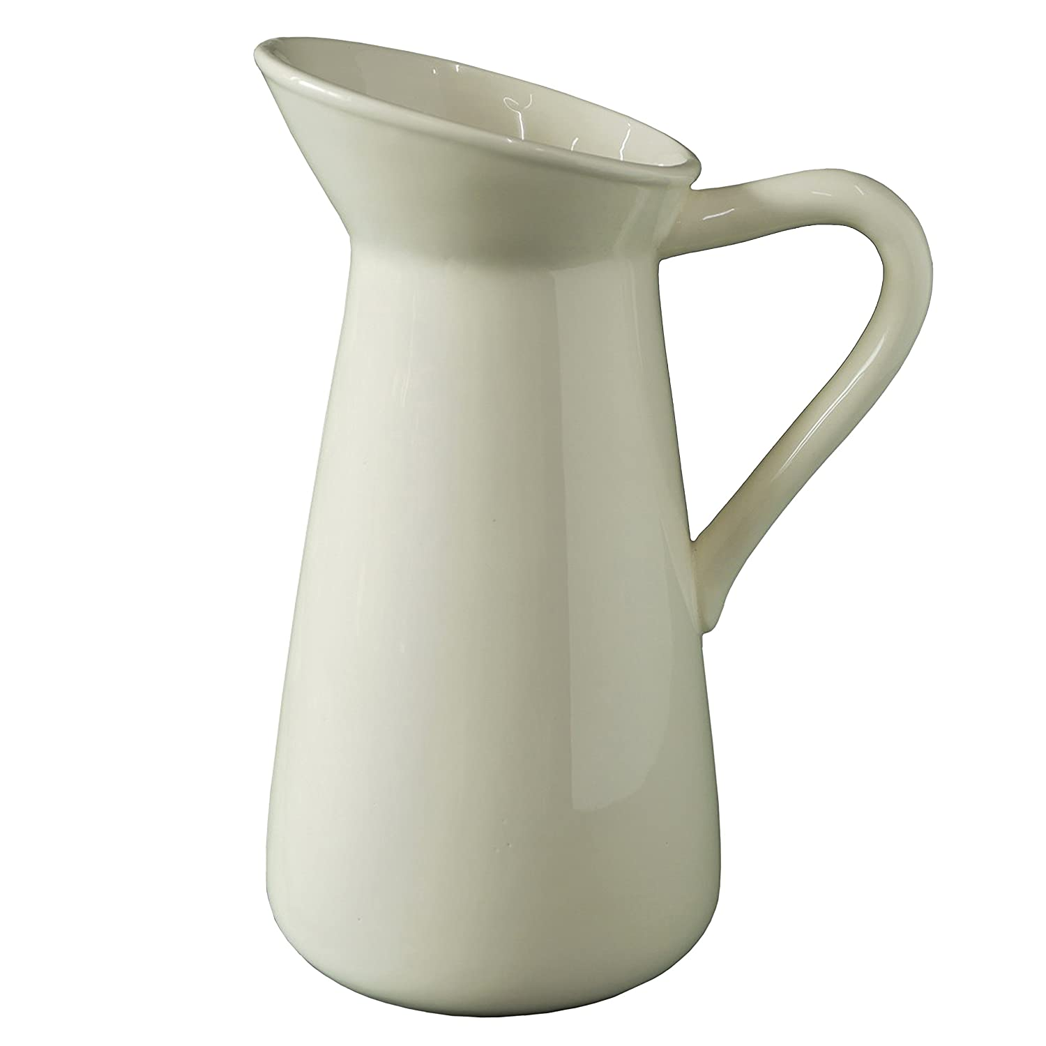 "Hosley Cream Ceramic Pitcher/Vase - 10"" High, for Flowers/Decorative Use. Ideal for Dried Floral Arrangements Gifts for Home, Weddings, Spa and Aromatherapy Settings O3"