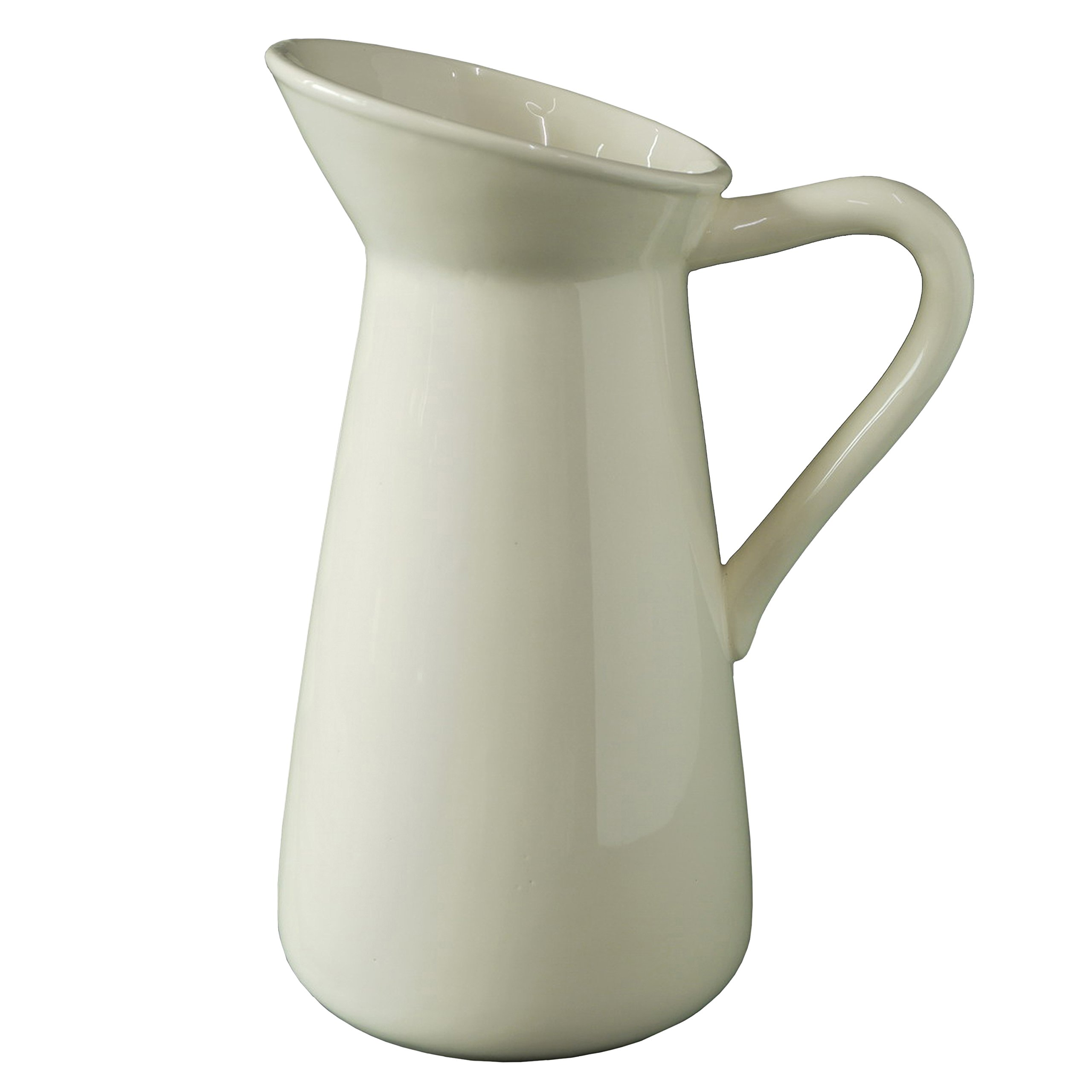 Hosley Cream Ceramic Pitcher/Vase - 10'' High, for Flowers/Decorative Use. Ideal for Dried Floral Arrangements Gifts for Home, Weddings, Spa and Aromatherapy Settings O3