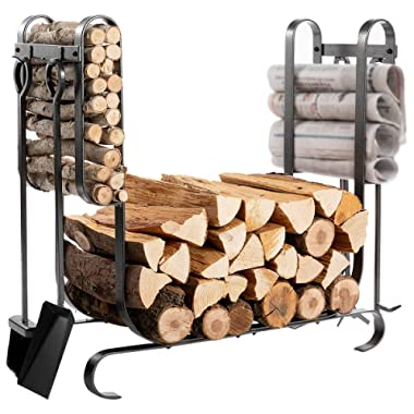 DOEWORKS Firewood Rack with 4 Tools Include Brush, Shovel, Poker&Tongs Firm Firewood Storage Log Holder for Indoor/Outdoor