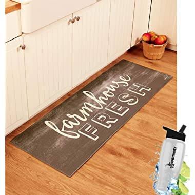 Gift Included- 55  PVC Farmhouse Fresh Kitchen Cushion Floor Runner Decorative Rug Decor + FREE Bonus Water Bottle by Home Cricket