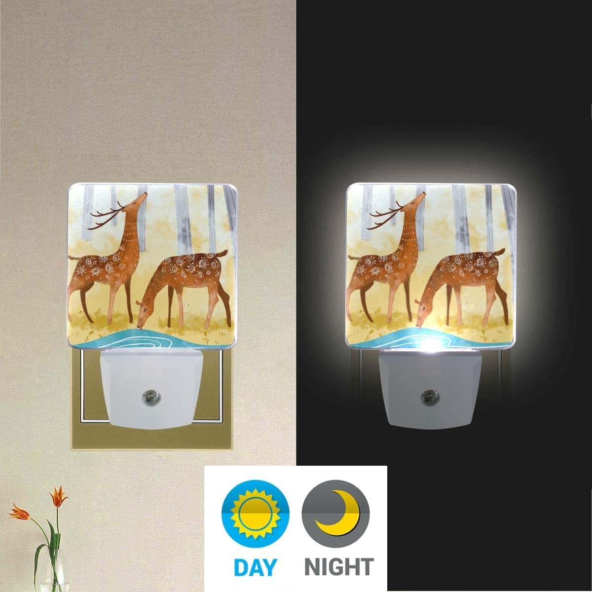 Holiday Party Decoration 3010339 Hallway Living Room Mr.XZY Simple Style Cute Cartoon Colorful Animal LED Night Light Bird Hen Tree Cloud Grassland Set of 2 Night Lamp for Bedroom
