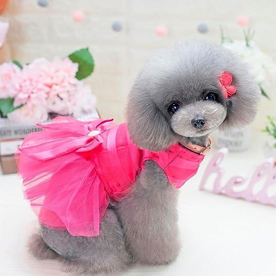 Feli546Bruce Pet Clothes Summer Spring Dog Bowknot Cartoon Breathable Pet Dress Puppy Clothes Gift