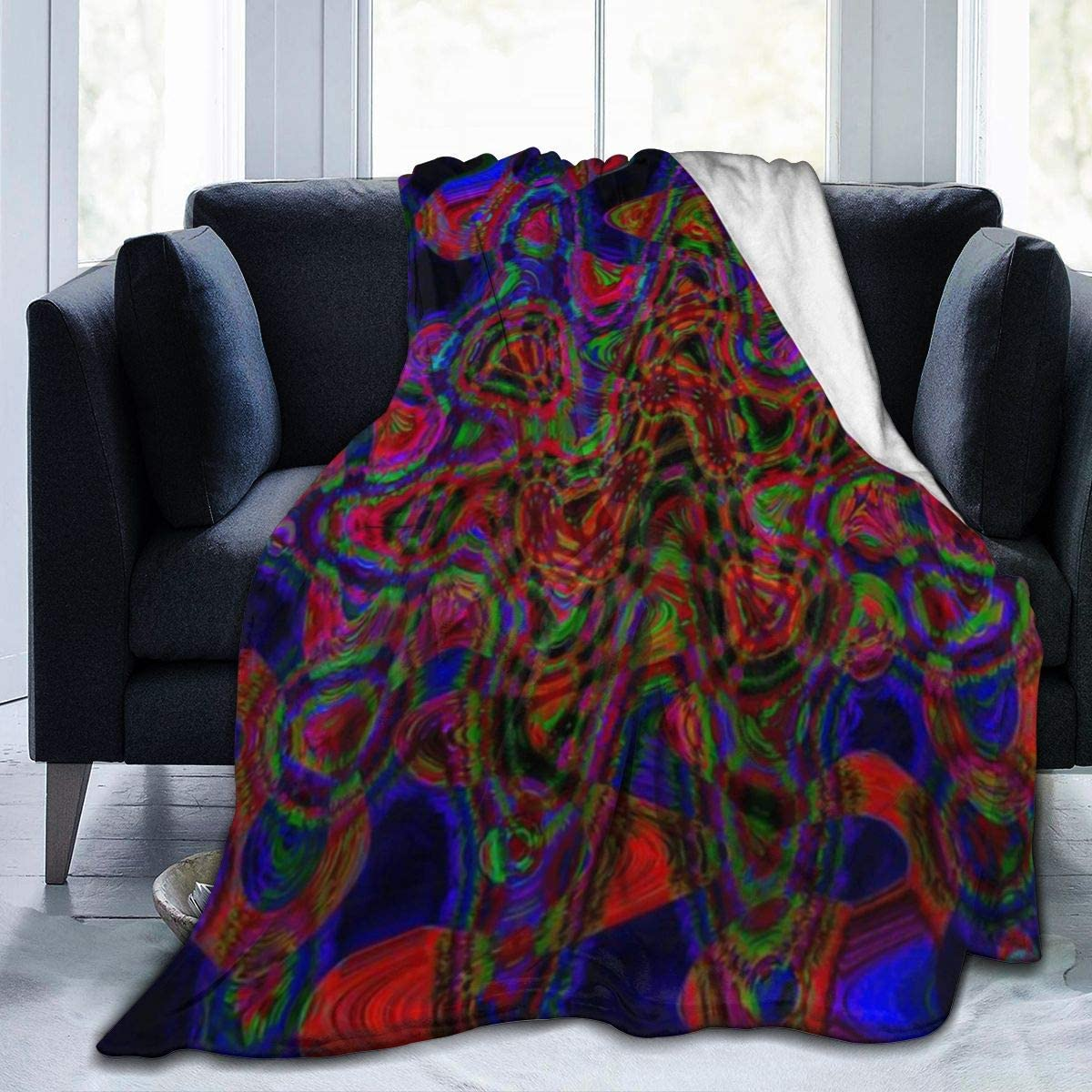Amazon Com Flannel Fleece Novelty Throw Blanket Psychedelic Abstract Shape Amaze Neon Colors Pattern Blankets For Winter Farmhouse Wedding Gift Air Conditioning Blanket And Comfy Easy Care 50 X40 Home Kitchen