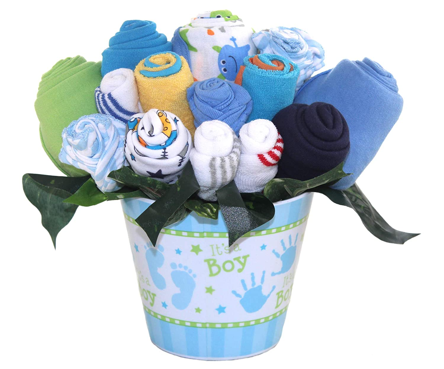 Baby Bouquet Made With Baby Clothes And Accessories Baby Shower Gift Practical Newborn Gift For Parents To Be New Baby Gift Idea Boys Blue Amazon In Baby