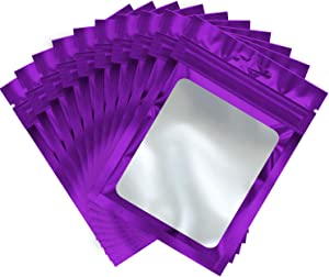 100 Pieces Resealable Mylar Ziplock Food Storage Bags with Clear Window Coffee Beans Packaging Pouch for Food Self Sealing Storage Supplies (Purple, 4.7 x 7.9 Inch)