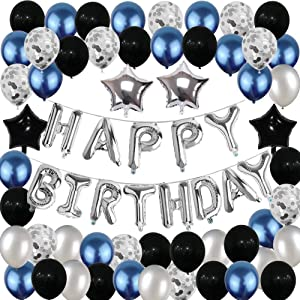 Birthday Decorations, Happy Birthday Balloon Banner Party Supplies, Silver Blue Foil Balloons Confetti Balloons Birthday Decor for Men Women, 1st, 14th, 18th, 50th, 60th Birthday Party Balloons Decorations Set (55pcs)