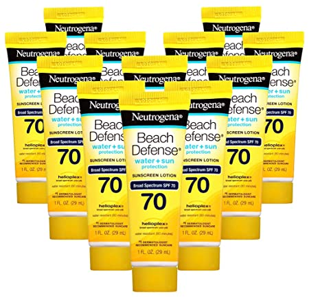 Neutrogena Beach Defense Sunscreen Lotion Broad Spectrum SPF 70, 1 Fl. Oz, Pack of 12