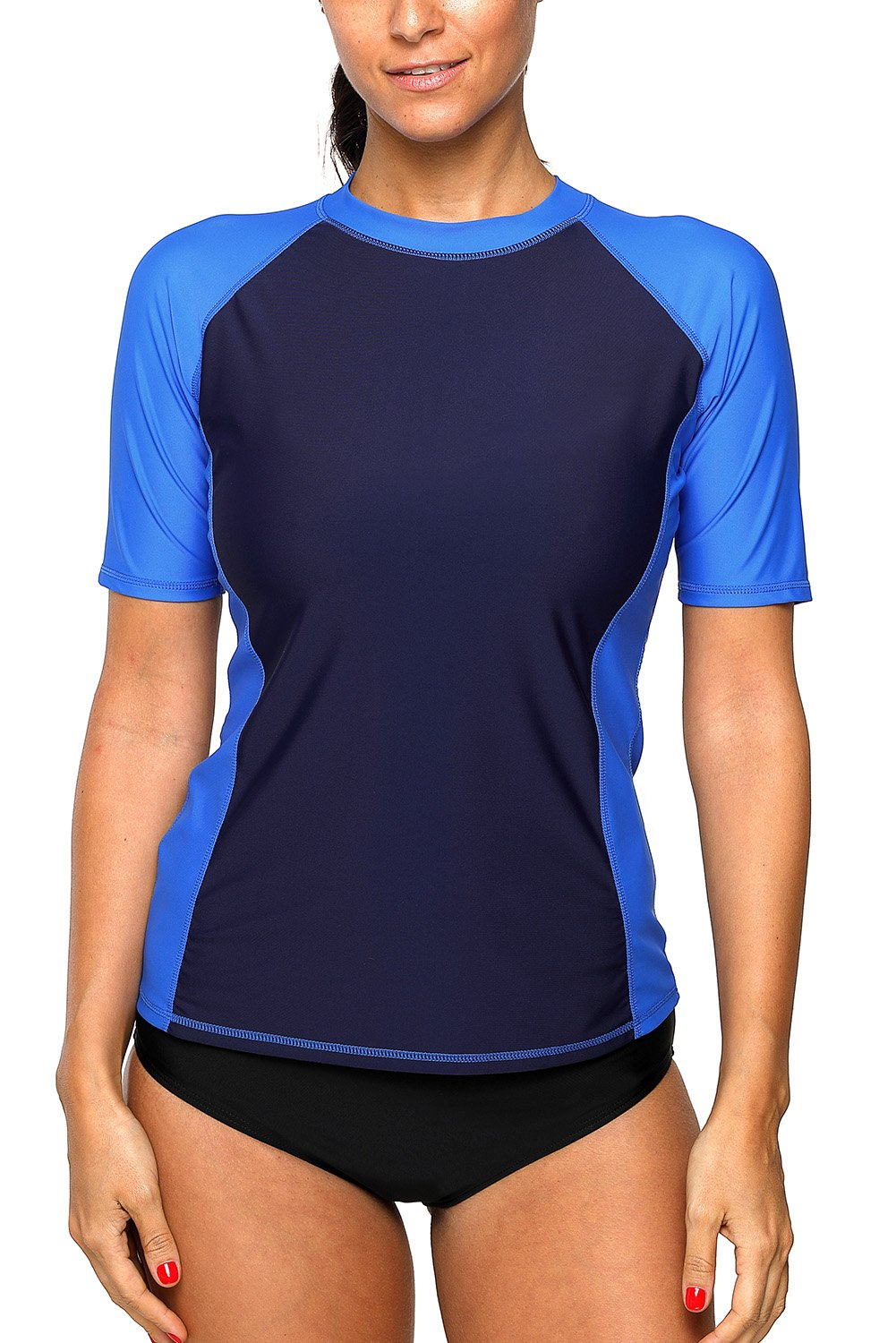 CharmLeaks Women's Short Sleeve Rash Vest Surf Sports Rash Guard Tops Swimsuits Swimwear UPF 50+