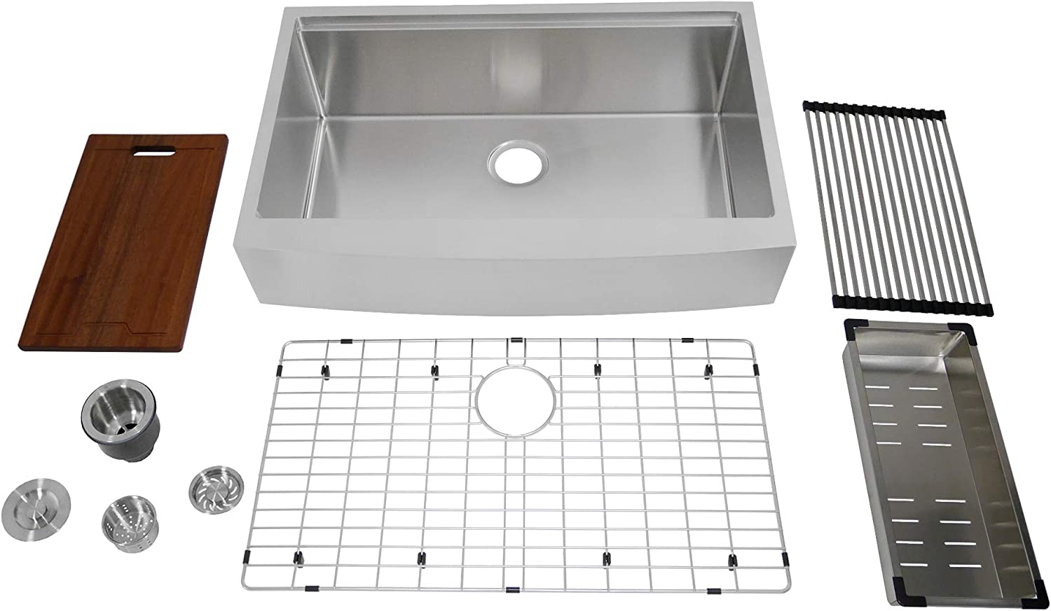 Auric 33 Inch Retro Fit Curved Apron Front Workstation Farmhouse Kitchen Sink 16 Gauge Stainless Steel Short Apron Single Bowl Scal 16 33 Retro Sgl Combo