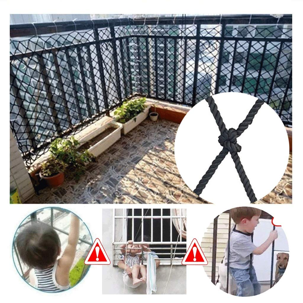 Child Safety Net Protection Net Staircase Balcony Anti-Fall Net Cat Net Black Decorative Net for Hanging Net Kindergarten Railing Net Fence Net 120x120mm Net (Size : 3x4m)
