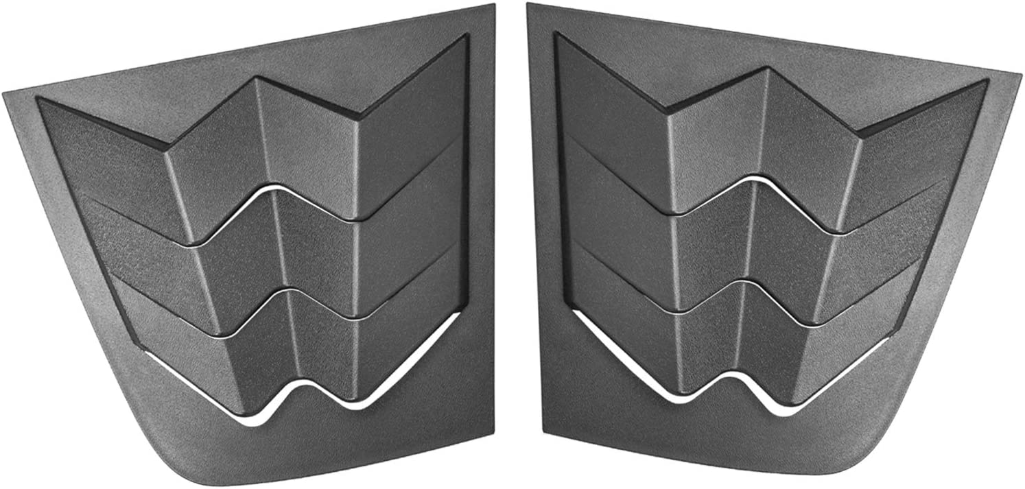 Matte Black Bonbo Rear Side Window Louvers Air Vent Scoop Shades Cover Blinds ABS for Dodge Charger 2011-2020 in GT Lambo Style Custom Fit