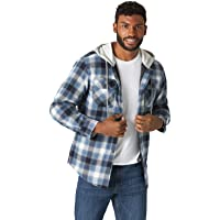 Wrangler Mens Men's Long Sleeve Quilted Lined Flannel Jacket with Hood Long Sleeve Button Down Shirt