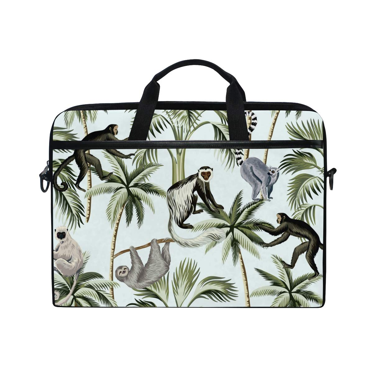 LIUBT Wild Animal Monkey Palm Tree Laptop Shoulder Messenger Bag Computer Briefcase Business Notebook Sleeve Cover Carrying Handle Bag for 14 inch to 15.4 inch