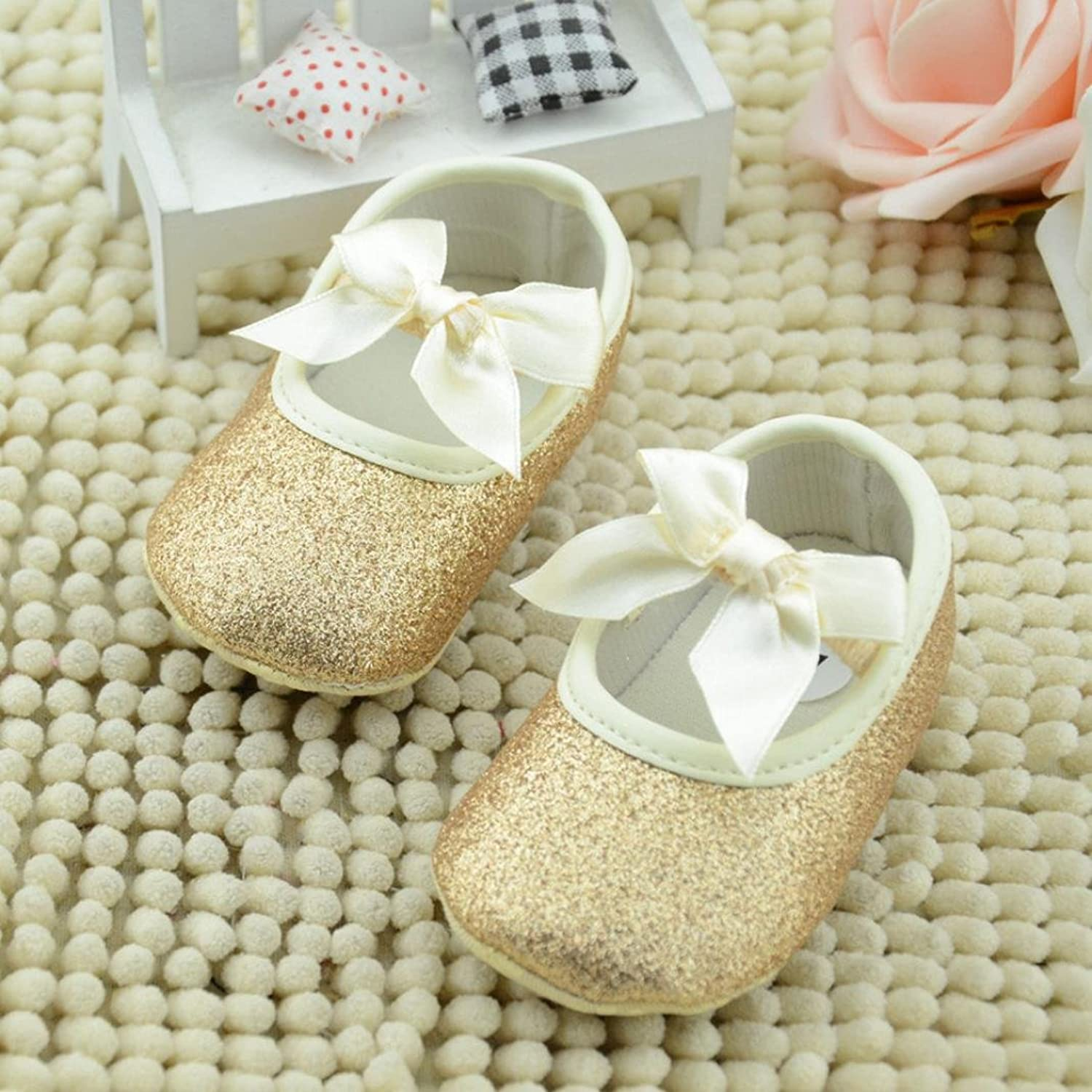 Amazon DZT1968 Baby Girl Soft Leather Bowknot Bling Bling Shoes