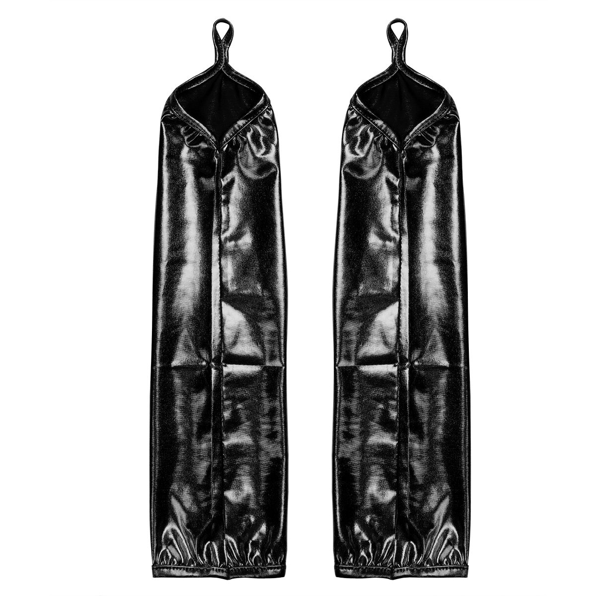 CHICTRY Womens Wetlook Shiny Leather Stretchy Fingerless Long Gloves Party Costume