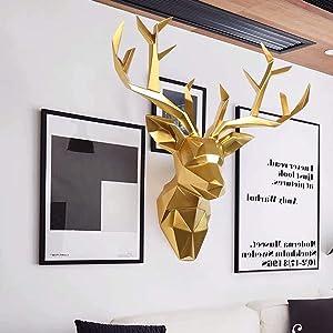 SUN RDPP Faux Taxidermy Resin Deer Head in Animal Head Wall Decor Deer Head Wall Mount Sculpture,Gold