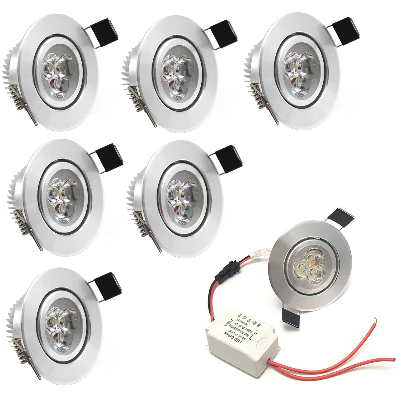 LEDIARY 3W 110-240V Recessed Led Ceiling Downlight Angle Adjustable Spotlight with LED Driver,55MM Cut Out,210 Lumen,Warm Light
