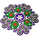 KRIWIN® 10-to 11 inches Dia - Floor/Wall /Table Rangoli Decorative Showpiece (Acrylic) (Flower)