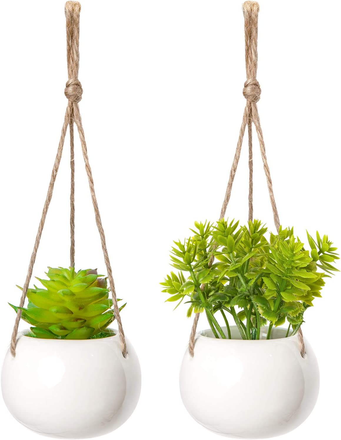 Mkono Mini Plant Car Hanging 2 Pcs Handmade Rear View Mirrior Car Charm Jute Hanging Planter with Ceramic Pot and Faux Succulent Plant for Car Home Decorations Father,s Day Gift, Approximate 8 inch