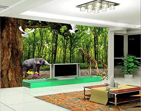 papel pintado 3D personalizado Madera De Agua Hoja Verde Animal ...