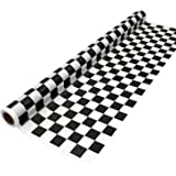 """Party Essentials Heavy Duty Printed Plastic Banquet Table Roll Available in 27 Colors, 40"""" x 150', Black and White Checks"""