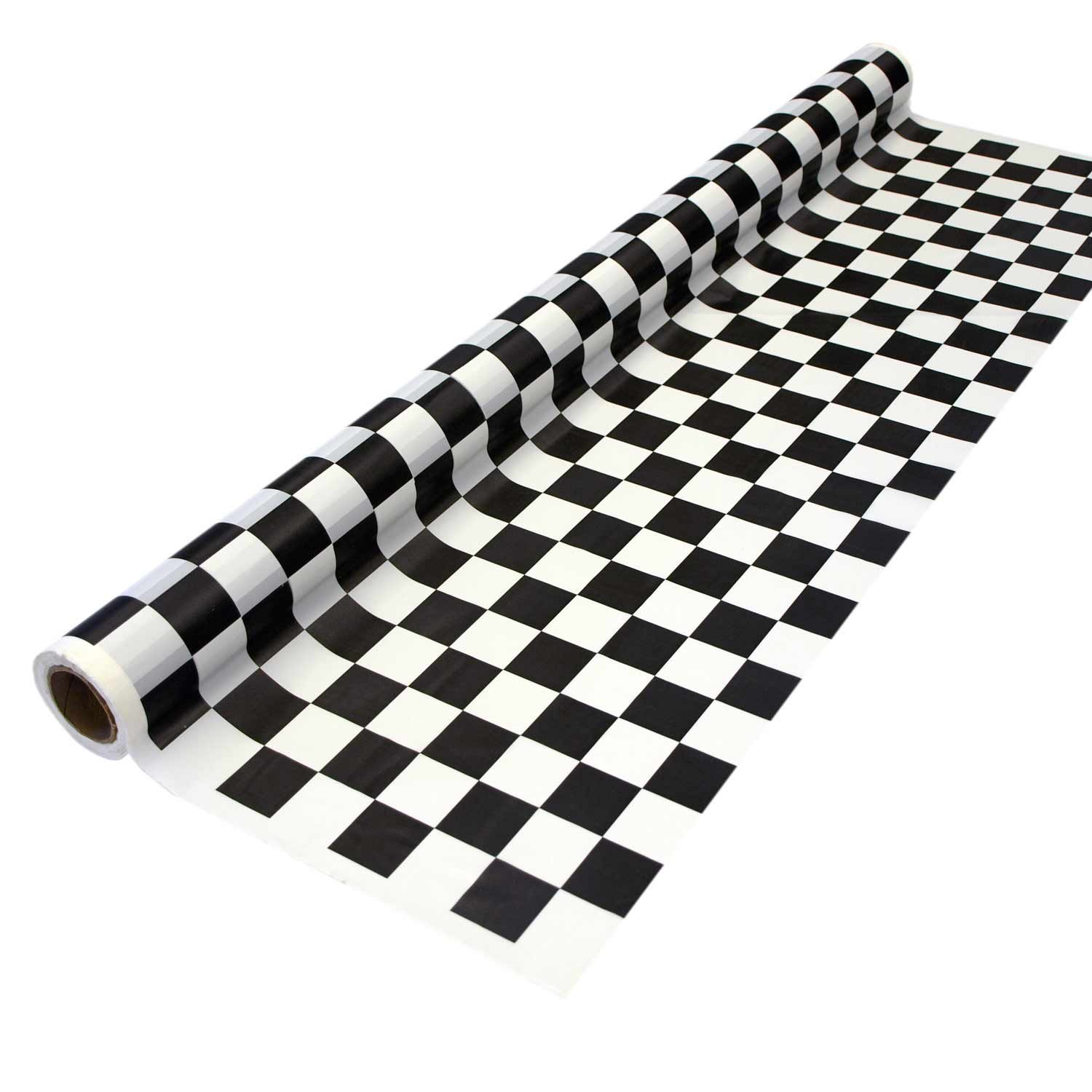 Party Essentials Heavy Duty Printed Plastic Banquet Table Roll Available in 27 Colors, 40'' x 150', Black and White Checks