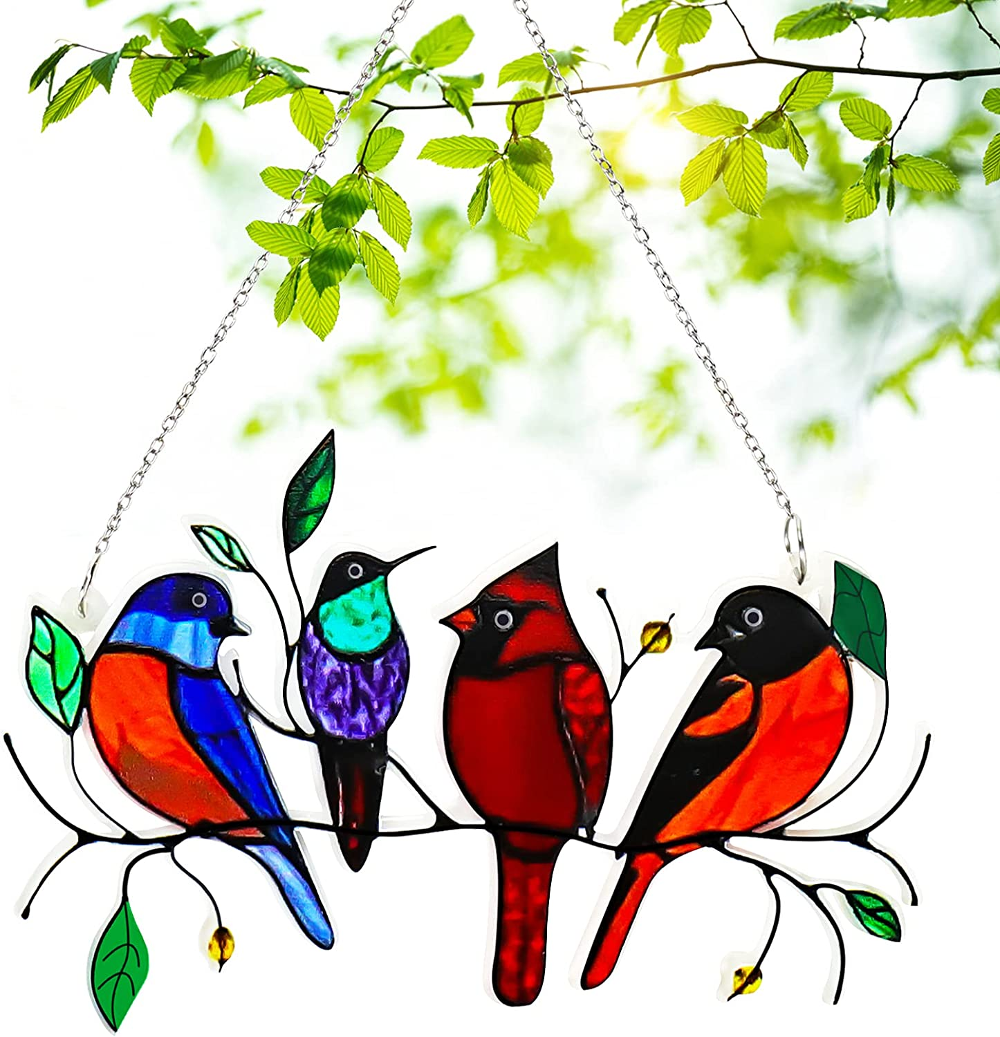Juome Multicolor Birds on a Wire High Stained Glass Suncatcher Window Hangings, 4 Birds Pendant Ornaments for Windows/Doors/Garden/Home Spring Decorations