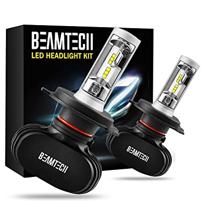 BEAMTECH H4 LED Headlight Bulb, 50W 6500K 8000Lumens Extremely Brigh (9003 Hi/Lo) CSP Chips Conversion Kit: Automotive