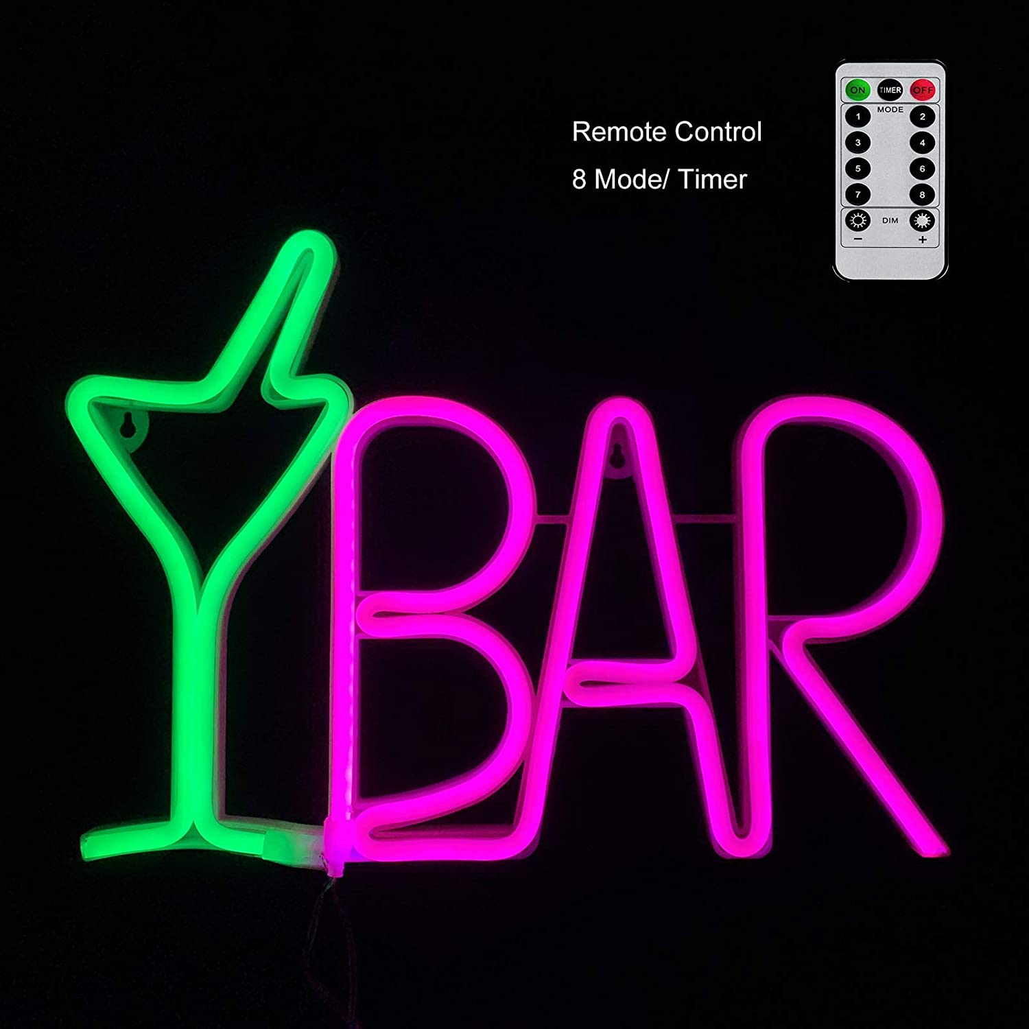 LED Bar Sign Neon Light for Business Remote 8 Modes(Flash) Green Cocktail Glass & Pink BAR Light Up Letter Beer Sign USB Wall Art Décor for Pub, Bistro, Party,Man Cave,Home,Basement(ABARLUF8M)