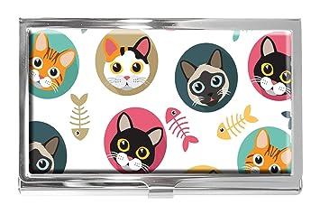 Tarjetero de Acero Inoxidable con diseño de Gato y Espina de ...
