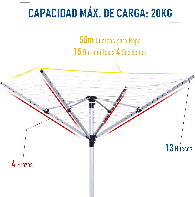 HOMCOM Tendedero Giratorio 50m para Jard/ín Camping Secador Ropa Plegable Altura Ajusatable 4 Brazos Tenderero Tipo Paraguas Aluminio