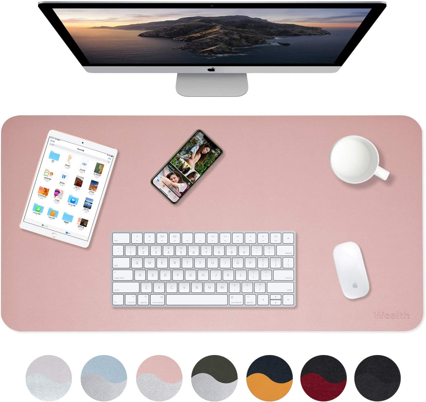 """Weelth Multifunctional Office Desk Pad, 35.4"""" x 17"""" Waterproof Desk Pad Protector PU Leather Dual-Sided Desk Writing Pad for Office/Home (Pink/Sliver, 35.4"""" x 17"""")"""