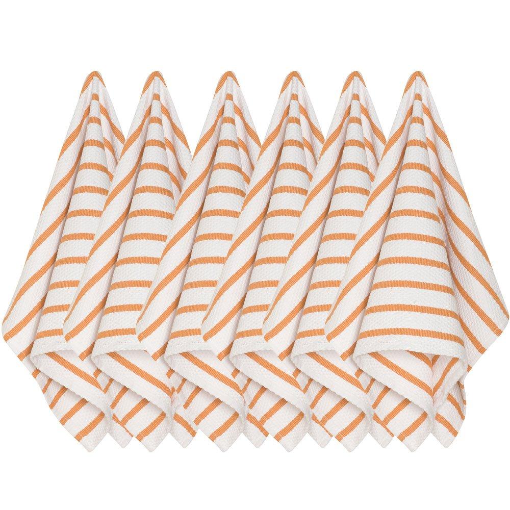 Now Designs Basketweave Kitchen Towel, Set of Six, Kumquat Orange