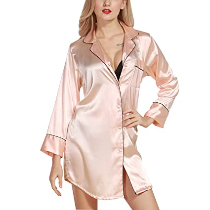 Luxspire Womens Sexy Silk-Like Long Sleeve Nighty Pajamas Solid Color Nightshirts Home Wear