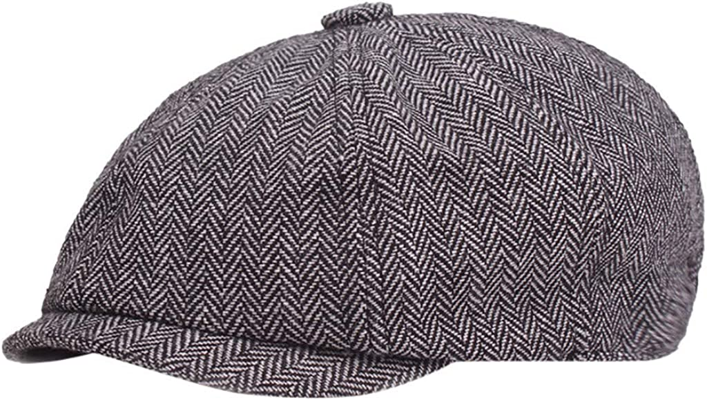 Coverhome Caps Cabbie Hat Gatsby Hat,Mens Irish Wool Flat Cap Newsboy Gatsby Driver Winter Hat Newsboy Cap Gatsby Baker Boy Hat Flat Caps Tweed Men Women