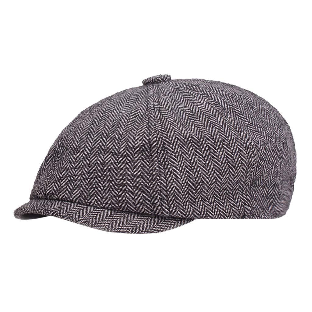 Cathy Clara Black Grey Herringbone Newsboy Baker Boy Tweed Flat Cap Mens Gatsby Hat