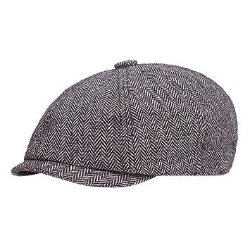 566e891784fb4 Men s Promotion Sale Black Grey Hat Classics Herringbone Newsboy Baker Boy Tweed  Flat Cap Gatsby Hat