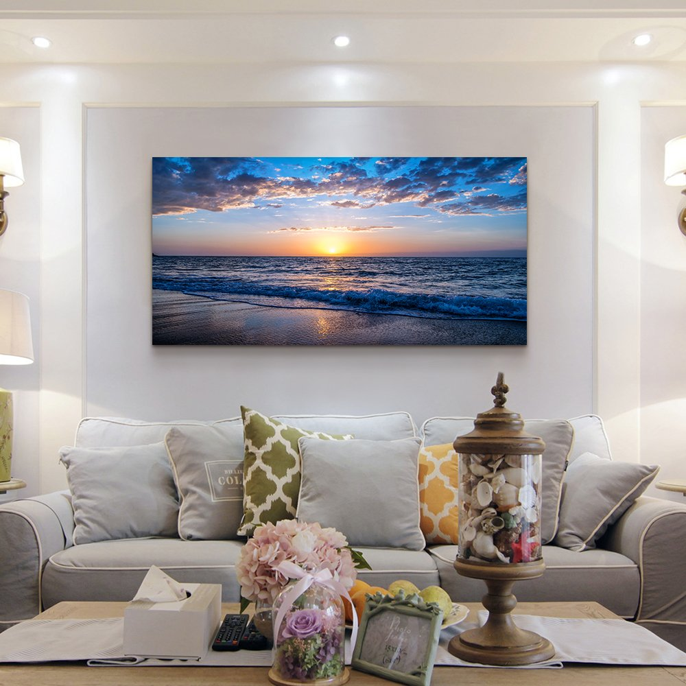 Details about hyidecor art Wall Art Moon Sea blue Ocean Landscape Paintings  Bedroom Canvas Art