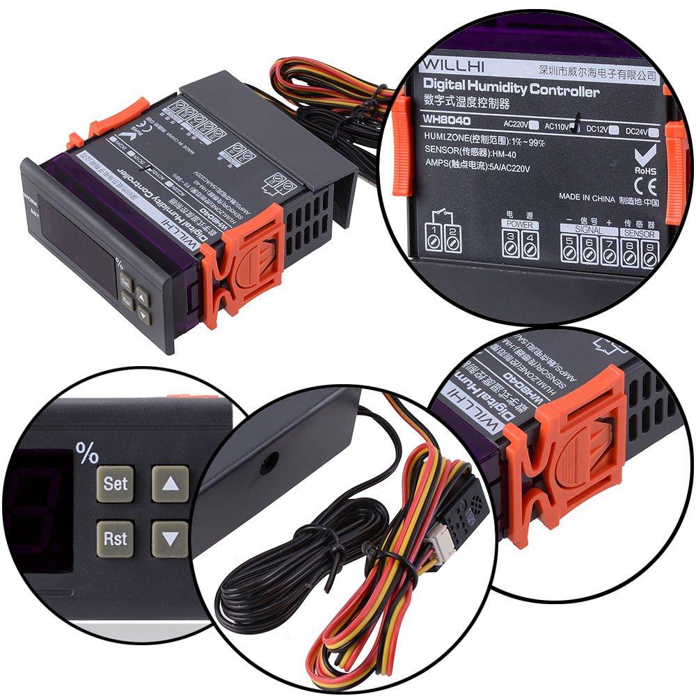 110V Digital Air Humidity Temperature Control Controller WH8040 Range 1%~99%