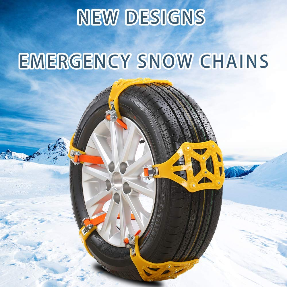 CICL Snow Chains 6Pcs Anti-Skid Snow Chains for Sudden Snow Easy to Fit Emergency Car Snow Tyre Chains Universal for Tyres Width 165-285mm
