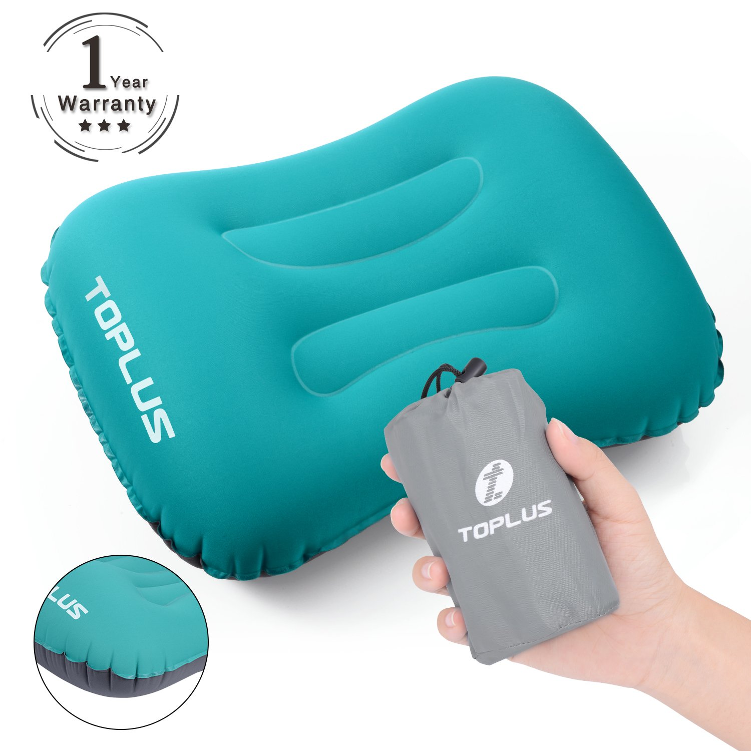 ec8889ceaba TOPLUS Inflatable Camping Pillow Ultralight Air Travel Pillow for Camping  and Hiking