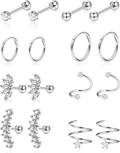 Amazon.com: Jstyle - 8 pares de aros de acero inoxidable ...