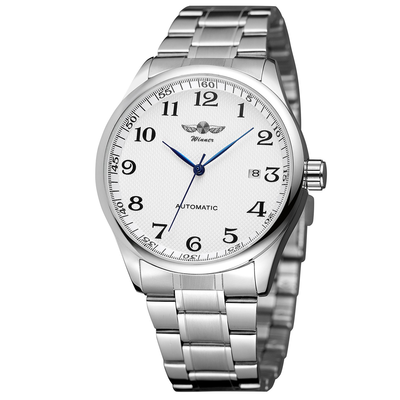 BesTn - Reloj de pulsera mecánico para hombre, correa de acero inoxidable, analógico, automático, color plateado