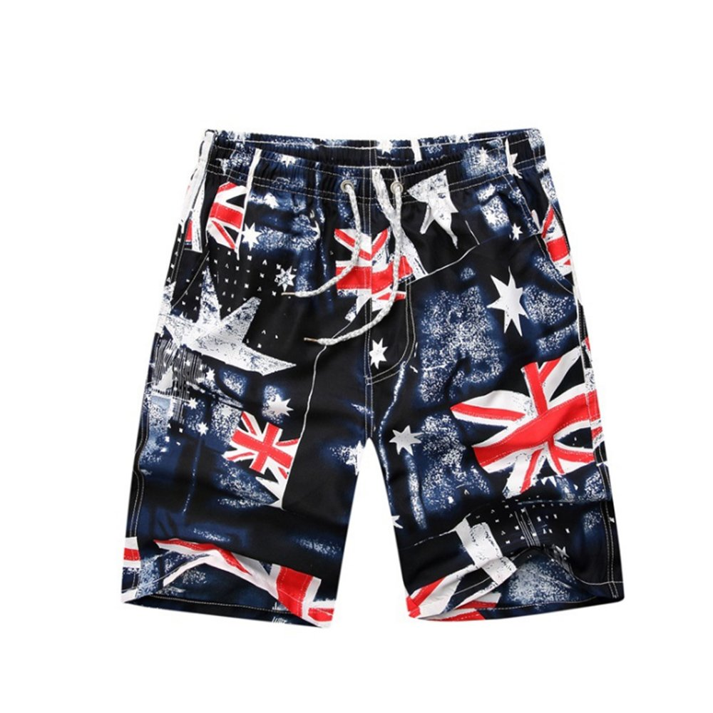 Aszune Printed Man's Swim Trunks, Quick Dry Beach Shorts for Summer& Poolside British Flag(L)