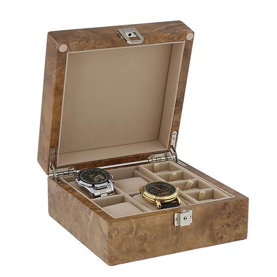 Reloj y Gemelos coleccionistas Caja de 8Par de gemelos + 4Luz de muñeca relojes en madera