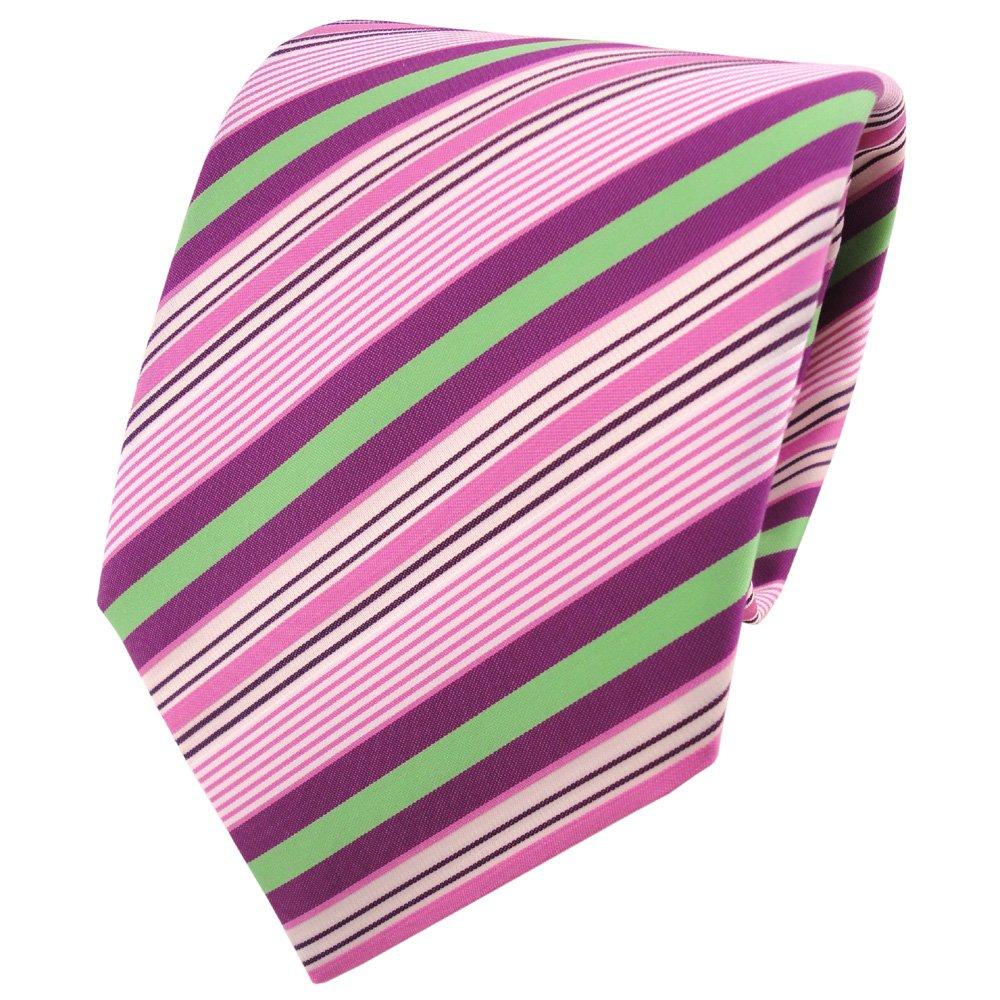 TigerTie - Corbata - rosa morado violeta verde crema rayas: Amazon ...