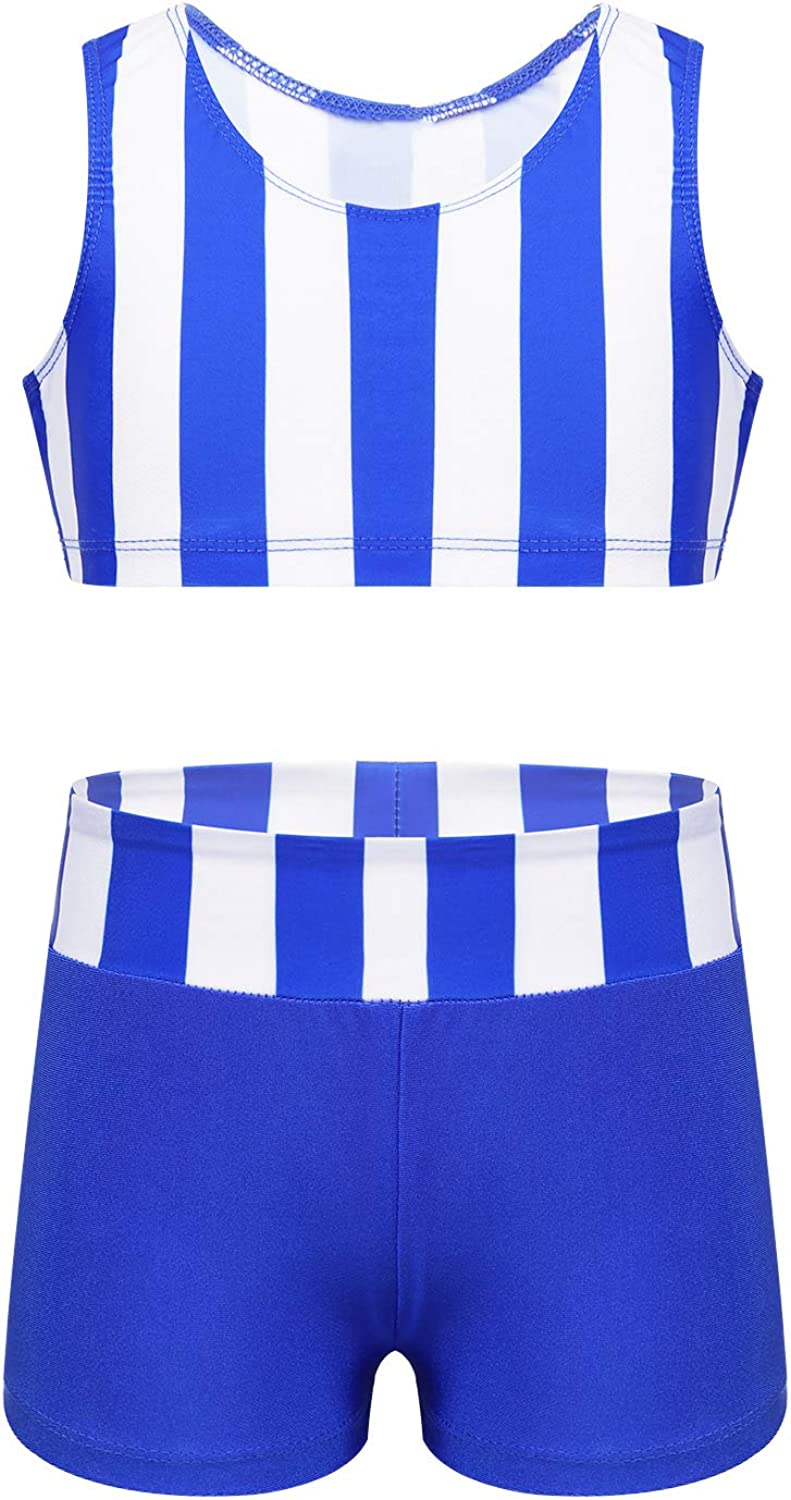 Freebily 2pcs Girls Tankini Swimsuit Set Tank Top Bra with Boyshort Bottoms Dance Outfit Summer Beach Sport Swim Bathing Suit